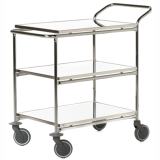 Transport serving trolley with fixed stainless steel plates 95x55 cm, 3-p