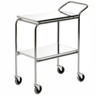 Transport serving trolley with fixed stainless steel plates 95x55 cm, 2-p