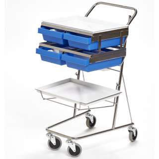 Sampling trolley with 2 trays 4 compartments