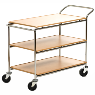 Transport serving trolley with fixed plastic laminate boards | 3-plane