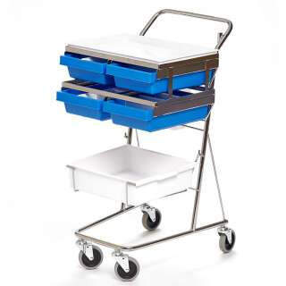 Sampling trolley, tray, box, four compartment boxes